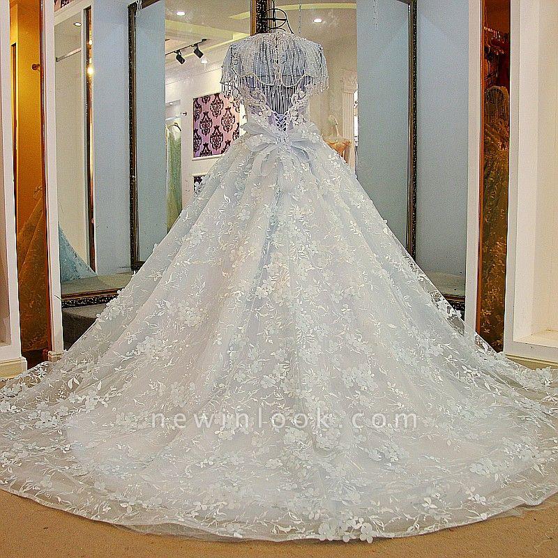 Court Train Appliques Crystal Wraps Quinceanera Dresses