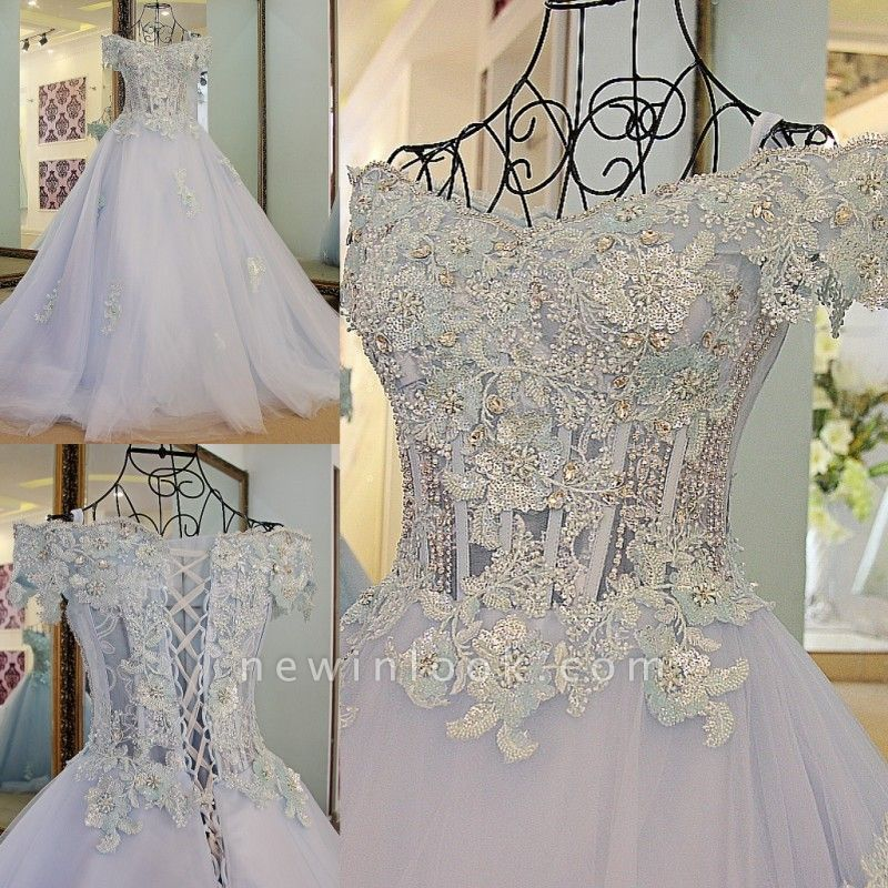 Cap Sleeves Sweep Train Tulle Appliques Quinceanera Dresses