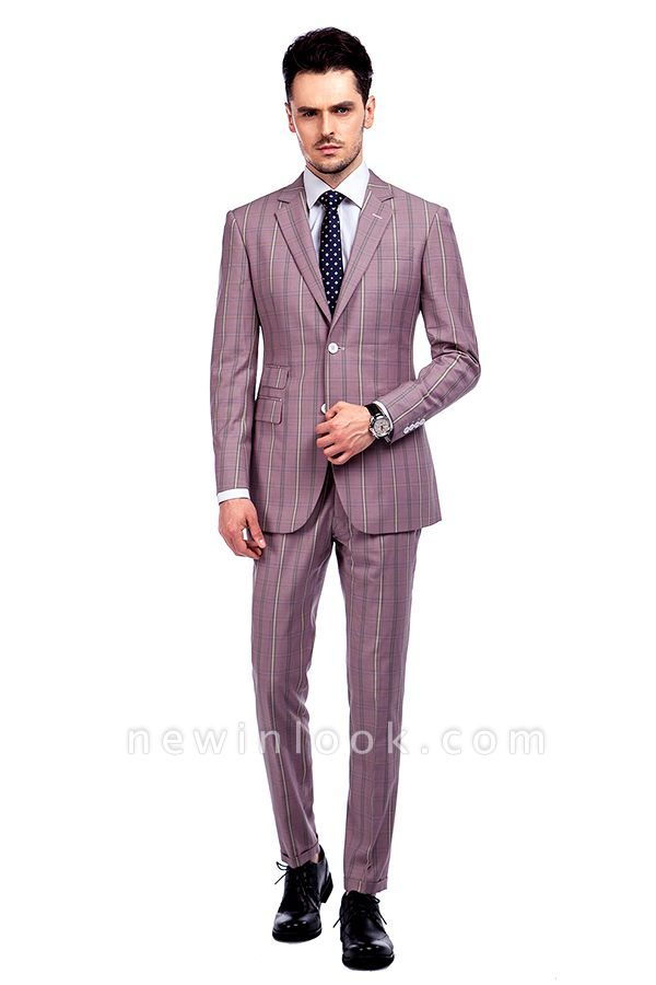New Tailor Made Light Pink Plaid Chambelanes Tuxedos | 3 Pockets Single Breasted Slim Bespoke Suits