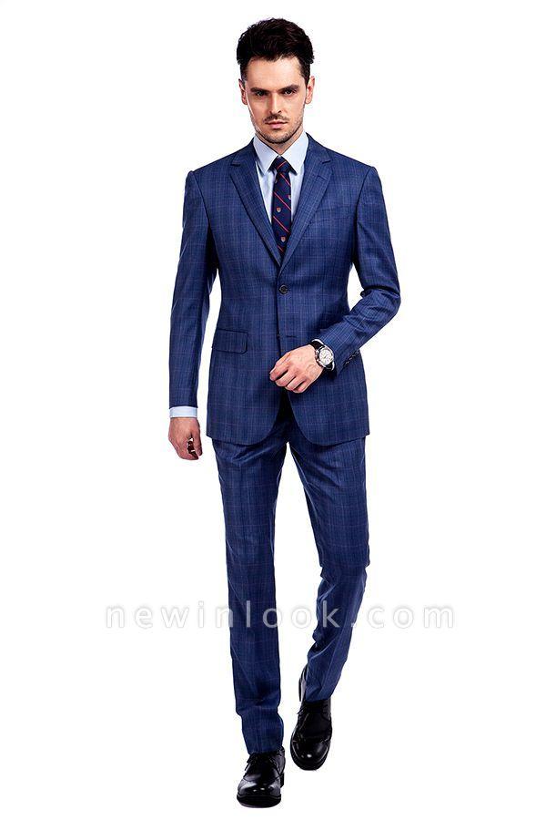 Nueva llegada Premium Blue Checks traje de lana para hombre | Moderno Vent Personalizado traje de boda de un solo pecho
