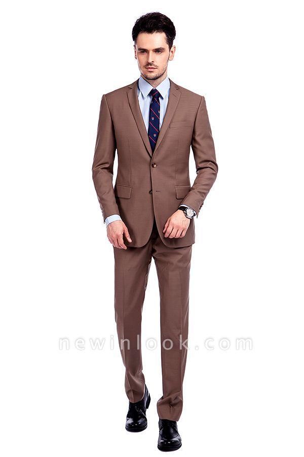 Traje de negocios a medida con solapa de pecho cruzado marrón claro | Traje de hombre de moda 2019 de alta calidad con 3 bolsillos