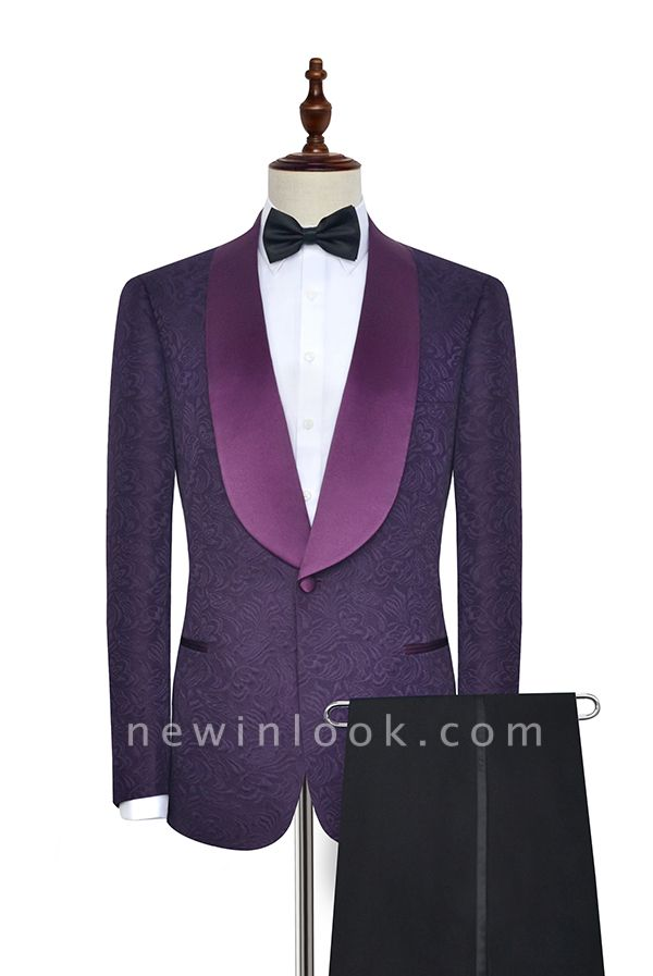 Hot Recommed Deep Purple Jacquard One Button Customized Tuxedos for my Quince  | Modern Shawl Collar Single Breasted Quinceanera Tuxedos