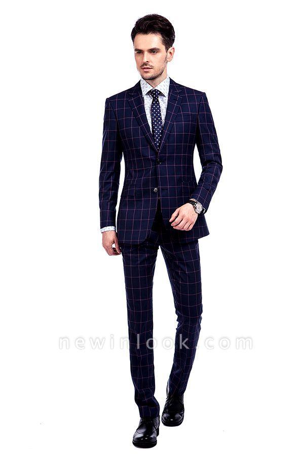 Recién azul marino cheques dos botones por encargo traje | Traje de novio de pana de un solo pecho y corte