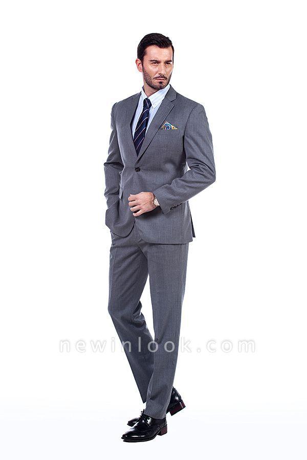 Nuevo dise_o de dos botones de un solo pecho traje personalizado | Alta calidad 2 piezas gris pico solapa novio