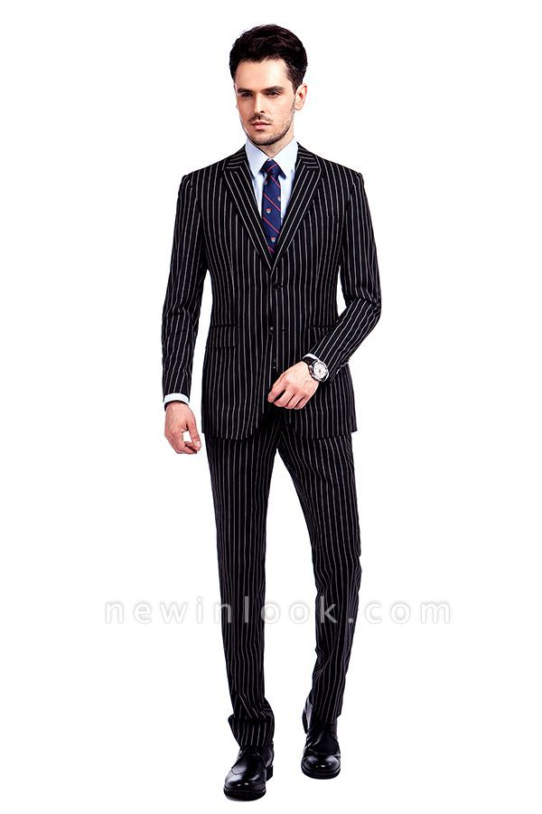 Tailor Hand Made White Stripes Business Suit for Men | Latest Design Peak Lapel Single Breasted Slim Fit Suit