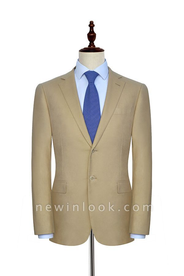 Light Brown Linen Notched Lapel Casual Suit For Men | Fashion Three Pockets Single Breasted Quinceanera Tuxedos
