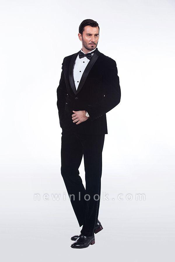 Cuello de terciopelo negro traje premium personalizado para hombre | El último traje de boda del novio del botón del dise_o uno