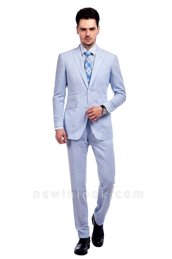 Blue Stripes Single Breasted quinceanera Groom Tuxedos | Peaked Lapel Two Buttons Tailor Made Causal Suit for Men