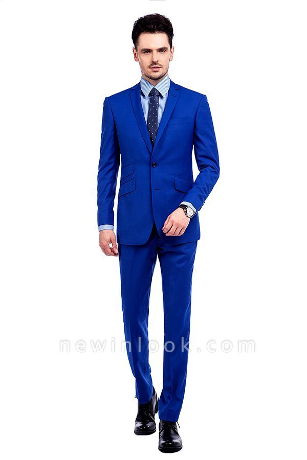 Premium Royal Blue Single Breasted Custom Suit | Peak Lapel Two Buttons Casual Suit Chambelanes