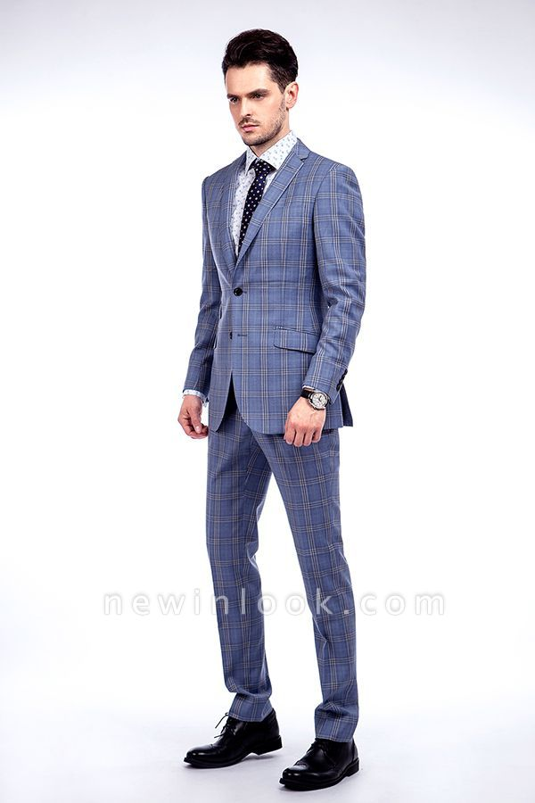 Wool Blue Checked Single Breasted Tailored Suit For Men | Stylish Design Notched Lapel Slim Fit Chambelanes Tuxedos