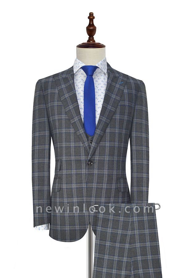Dark Grey Large Lattice Peak lapel Three-piece Suit For Formal | New Arrival 3 Pocket Single Breasted Chambelanes Tuxedos For Men