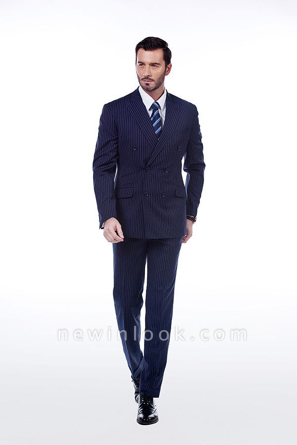 Fashion Double Breasted Navy Blue Made to Measure Suit | Modern Stripe Peak Lapel Chambelanes Tuxedos For Men