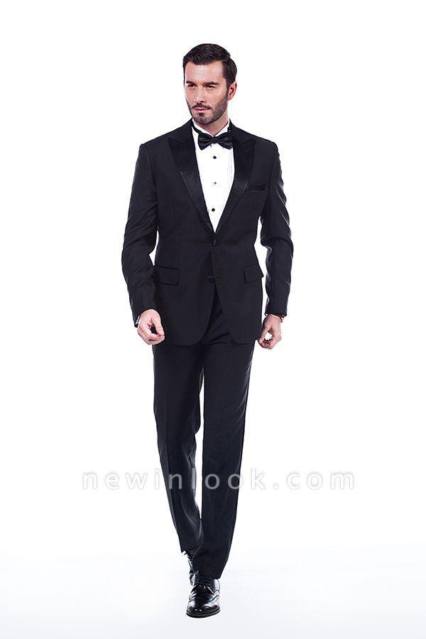 Sólidas populares trajes de novio de boda | Tres bolsillos de solapa pico manchas negras