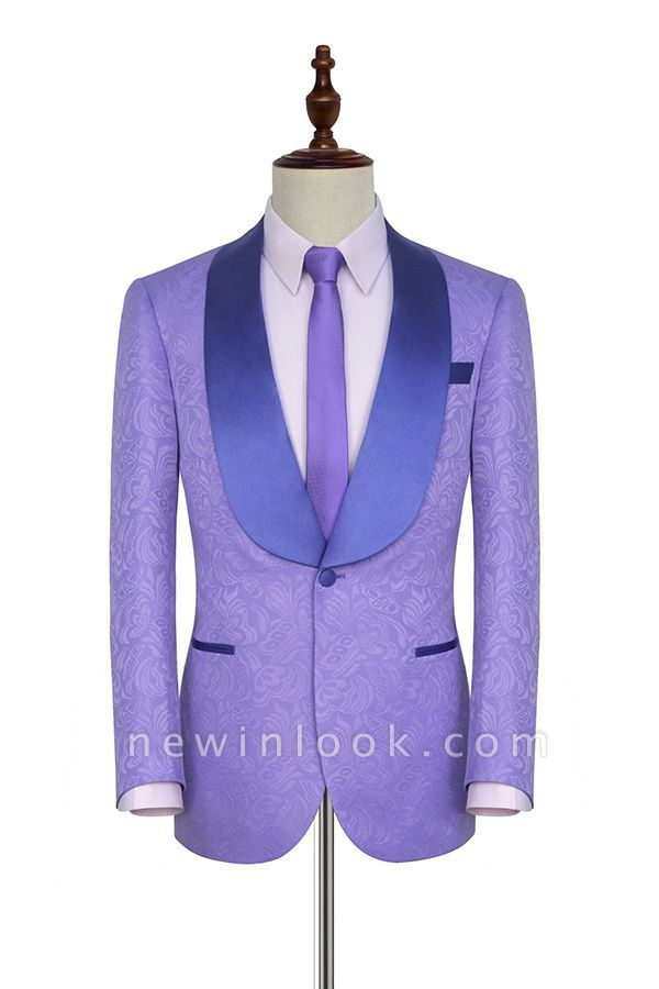 Lavender Jacquard Shawl Collar Customized Party Suits | Latest Design Single Breasted One Button Custom Chambelanes Tuxedos