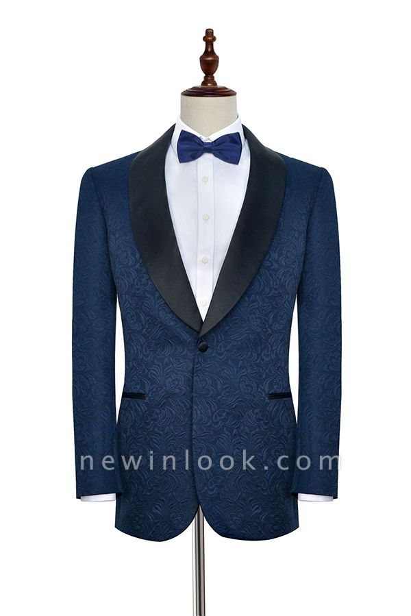 Navy Blue Popular Jacquard Custom Luxury Suit | Single Breasted One Button Quinceanera Tuxedos for Chambelanes