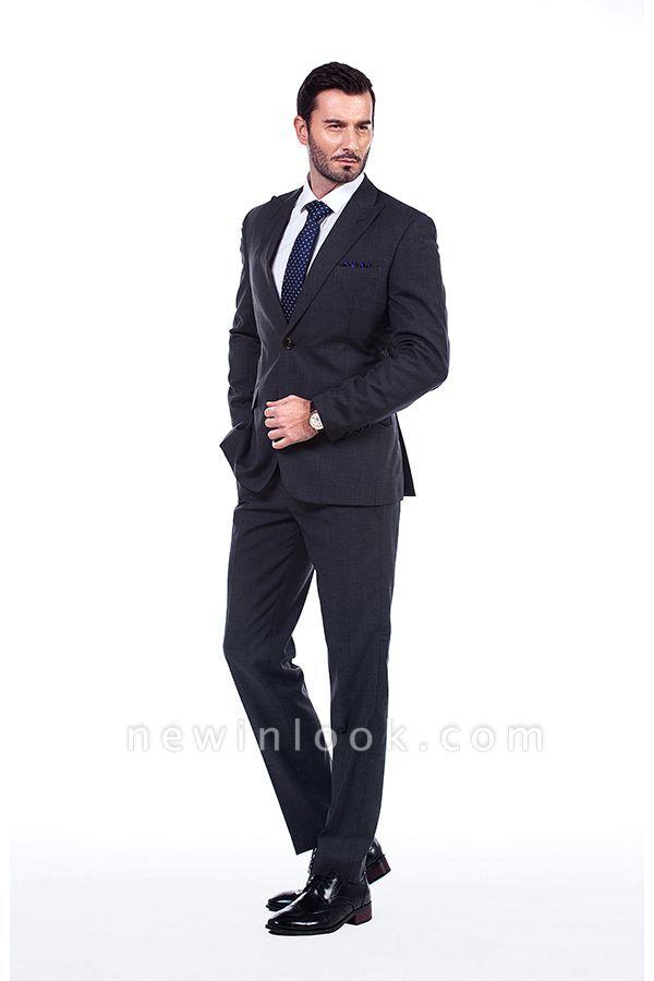 Esmoquin de novio sólido sólido de la boda | Traje a medida moderno de solapa en pico gris oscuro
