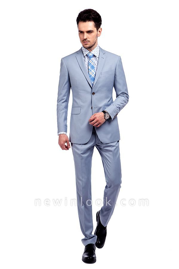 Fashion Light Blue Peaked Lapel Wool Customized Tuxedos for my Quince  | Three Pockets Single Breasted Quinceanera Tuxedos