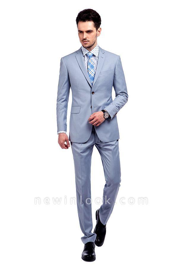 la solapa enarbolada por encargo Traje a medida azul claro | Tres bolsillos trajes de novio de boda de pecho único