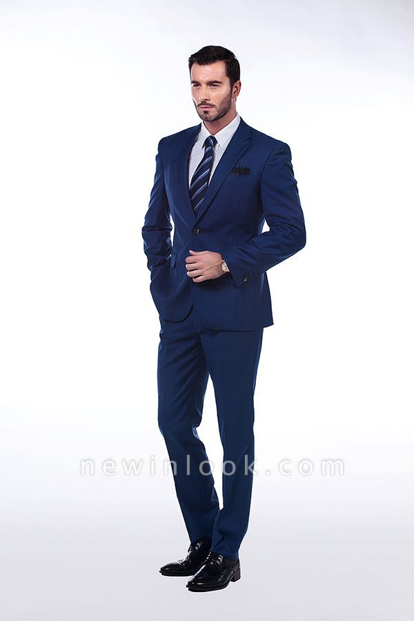 High Quality Blue Peak Lapel Made To Measure Suit | Slim Fit Single Breasted Back Vent Chambelanes Tuxedos