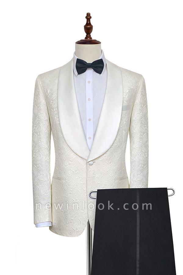 Traje de boda a medida de Jacquard blanco puro para el novio | Nuevo traje formal de un botón con botonadura simple para hombres guapos