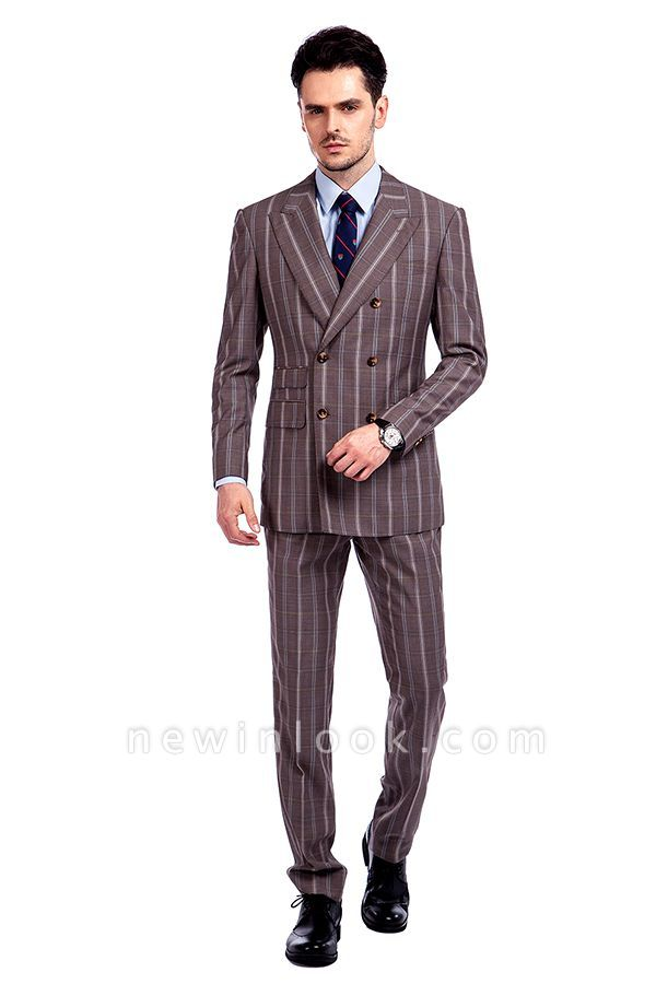 Hot Recommend Stripe Tailored Double Breasted 2 Piece Suits | Peak Lapel 3 Pocket Customized Tuxedos for my Quince  For Men