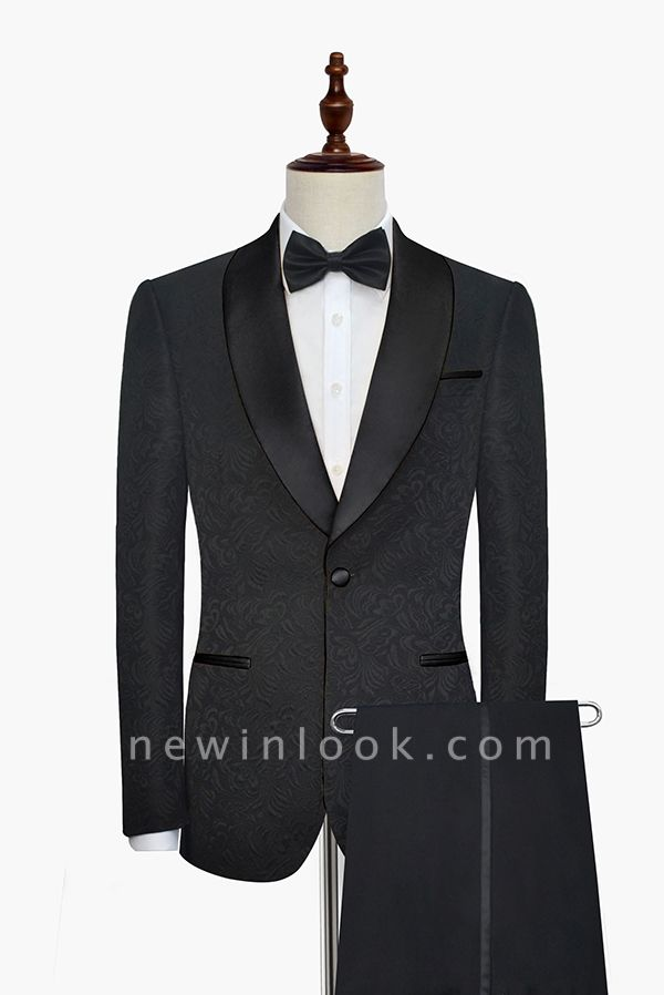 Pure Black Jacquard Shawl Collar One Button Customized Tuxedos for my Quince  | New Arrival 3 Pockets Single Breasted Slim Fit Chambelanes Suit