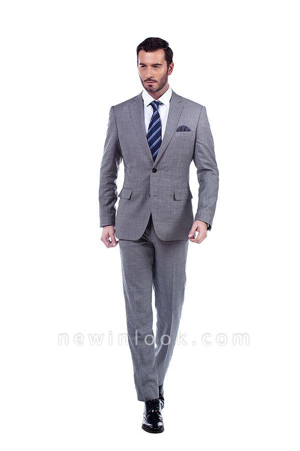 Gris elegante dise_o pico solapa trajes de los hombres | Traje de boda de dos bolsillos a medida