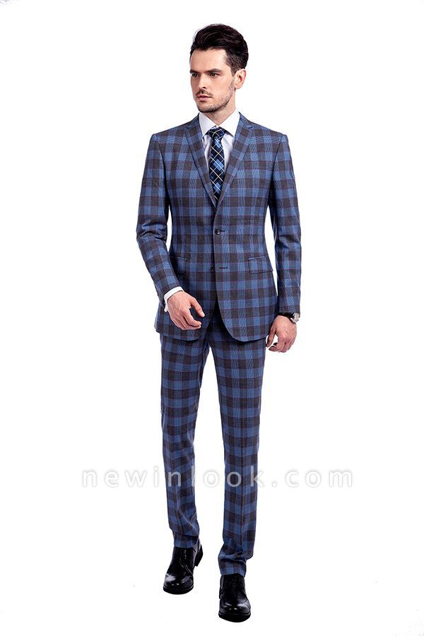 New Wool Slim Fit Purple Checks Suit | Popular Notched Lapel Single Breasted 2 Buttons Best Men Chambelanes