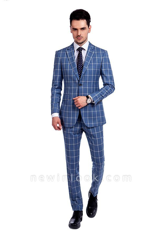Blue Windowpane Single Breasted Slim Fit Classic Suit | Peaked Lapel Made to Measure Tuxedos for my Quince