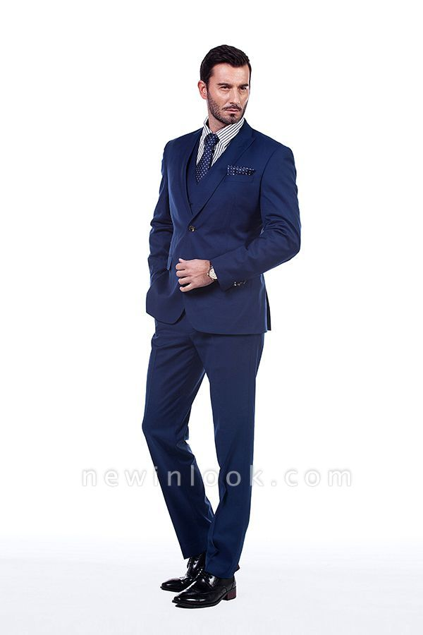 Royal Blue Peaked Lapel Chambelanes Tuxedos (Jacket Tie Vest Pants) Tuxedos | Customize Three Pocket Single Breasted Chambelanes
