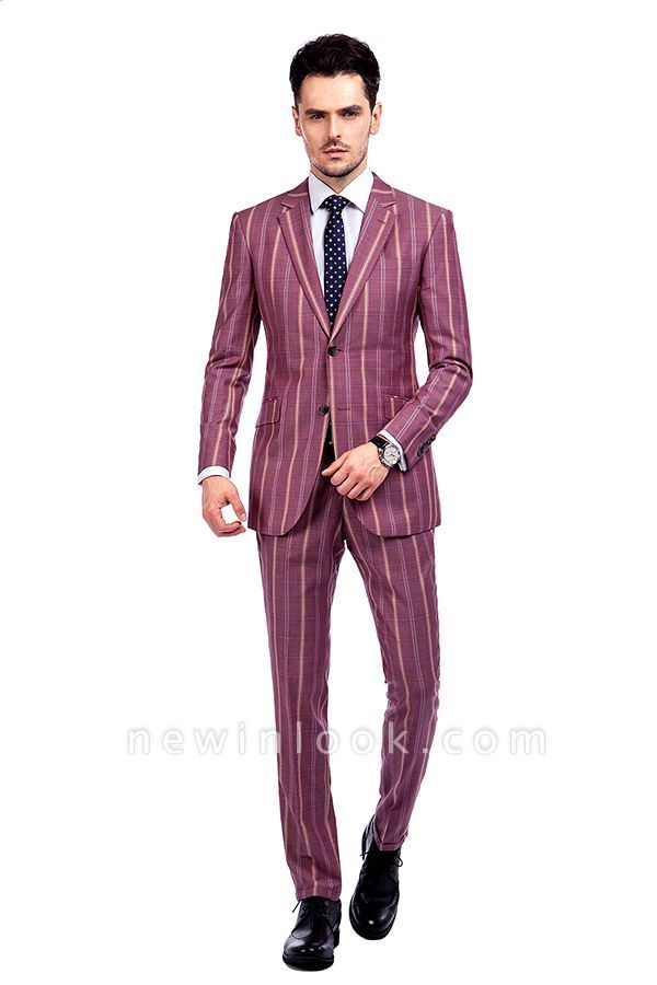 Dark Pink Checks Single Breasted Peaked Lapel Tuxedos | New Suit Formal Suit for Handsome Men