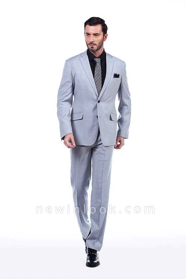 Solid Single Breasted Notched Lapel Formal Suit for Men | light Grey Custom Made Quinceanera Tuxedos
