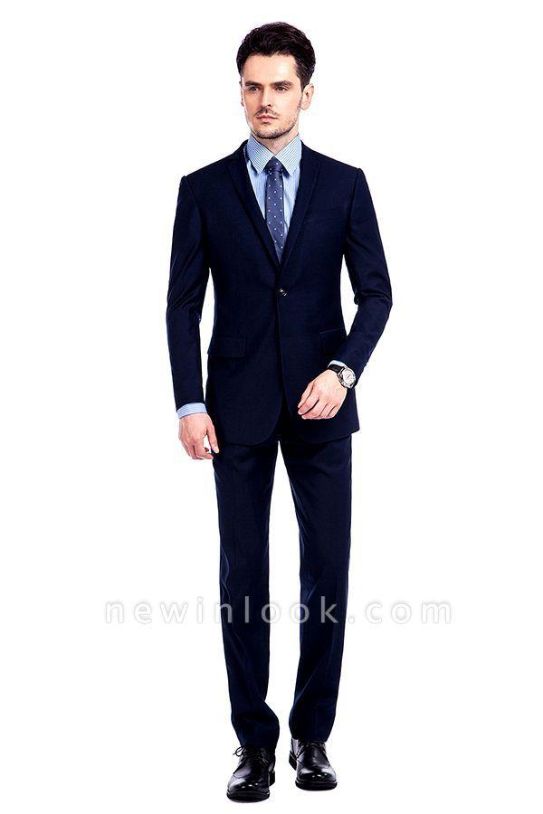 Traje de bolsillo azul marino con muesca con solapa 3 para hombres | El nuevo traje de padrino de boda para mujer