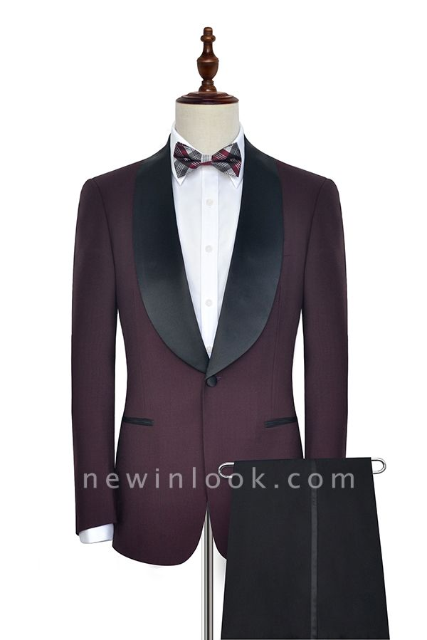 Maroon Single Breasted One Button Customized Tuxedos for my Quince  | Classic Two Pocket Shawl Collar Wool Quinceanera Suits