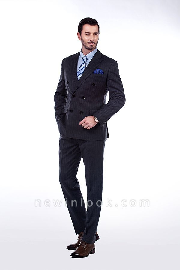 Double Breasted Stripe Tailoring Suit | Fashion Peak Lapel 3 Pockets Chambelanes Tuxedos For Men