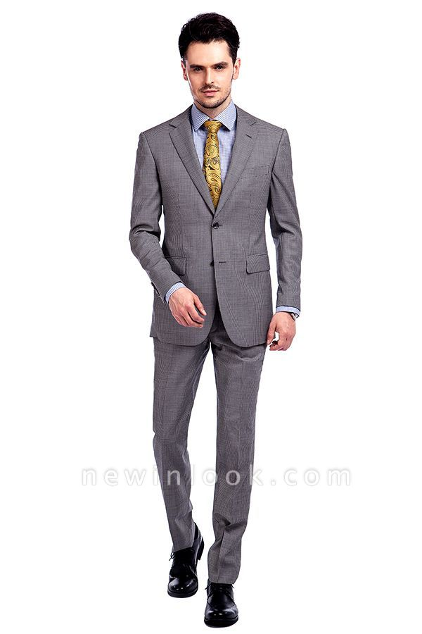Grey Houndstooth 3 pockets Wool Suits for Men | Customize Peaked Lapel Single Breasted Chambelanes Tuxedos Tuxedos