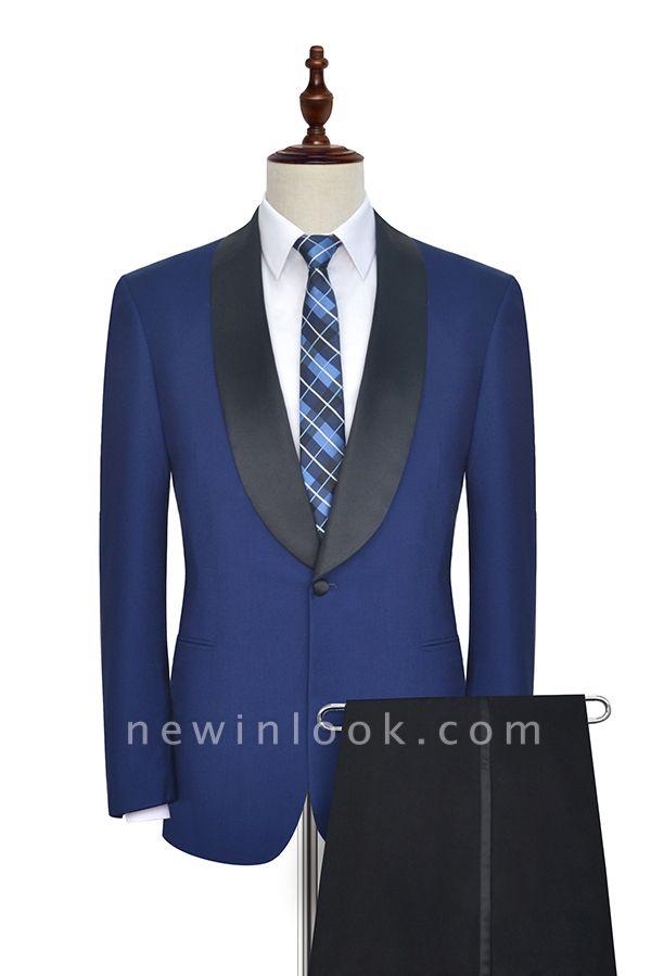 Con cuello chal de lana azul oscuro para el novio Traje de boda | Nuevo traje individual de pecho hecho a medida para hombre