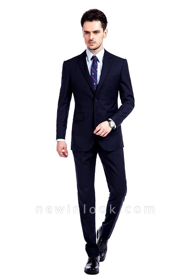 Fashion Navy Blue Herringbone Custom Made Business Chambelanes Tuxedos | Single Breasted 3 Pocket Tailored Suit For Men