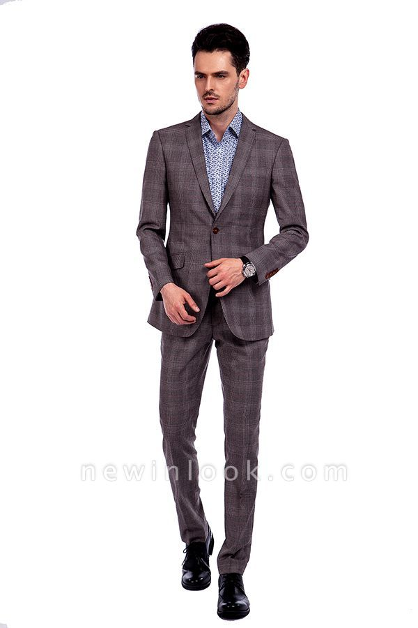 Latest Design Notched Lapel Brown Checks Custom Chambelanes Tuxedos | Single Breasted Made to Measure Premium Business Suit