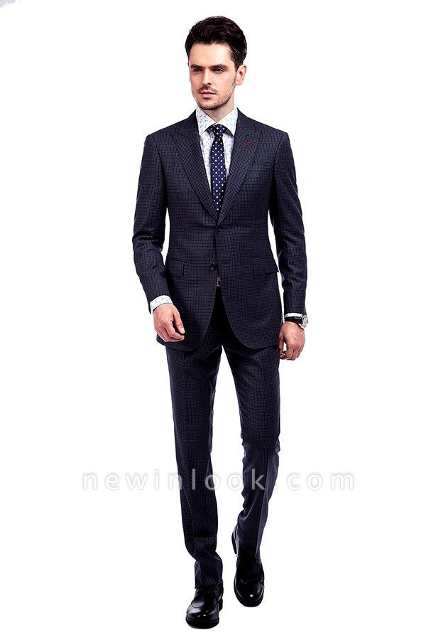 Dark Checks Premium Peak Lapel Customized Tuxedos for my Quince  | Classic Two Pocket Two Button quinceanera Groom Tuxedos