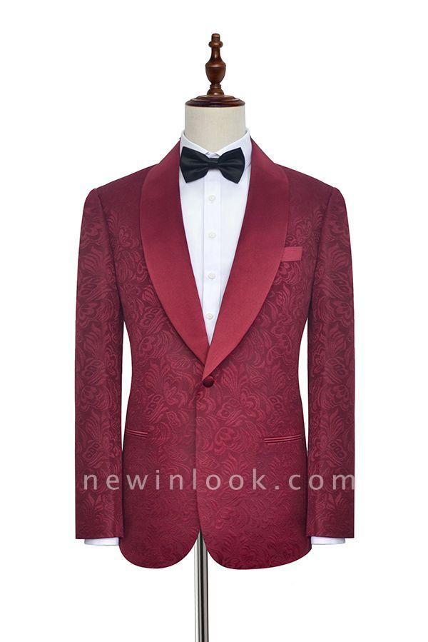 Con 3 bolsillos de cuello chal traje de boda personalizado | Un solo botonadura Un botón personalizado Jacquard de color rojo oscuro