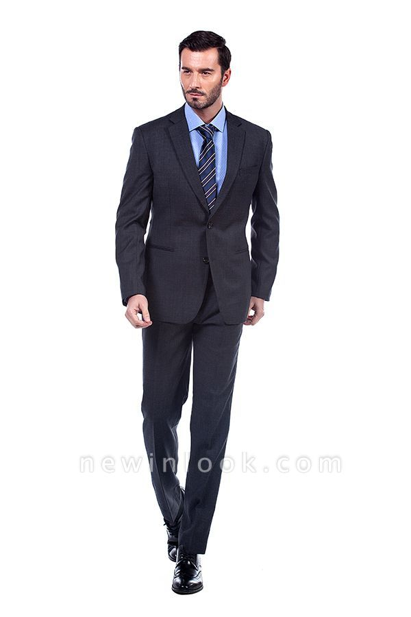 Dark Grey 2 Pockets Slim Bespoke Suits | Casual Notched Lapel Suit Customize Quinceanera Tuxedos