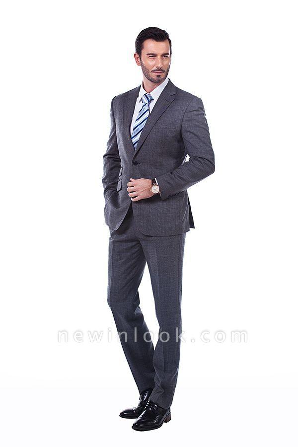 New Dark Grey Windows Slim Fit Custom Suits For Man | Customize Single Breasted Peak Lapel Chambelanes