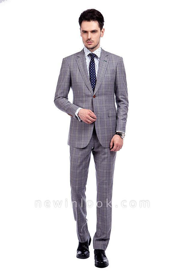 High-end Light Grey Checks Customized Tuxedos for my Quince  | Stylish Design Single Breasted Peak Lapel quinceanera Prom Suits
