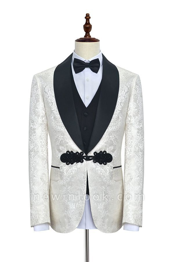 White jacquard Chinese knot button custom suit | Shawl Collar 3 Piece Formal quinceanera Chambelanes Tuxedos