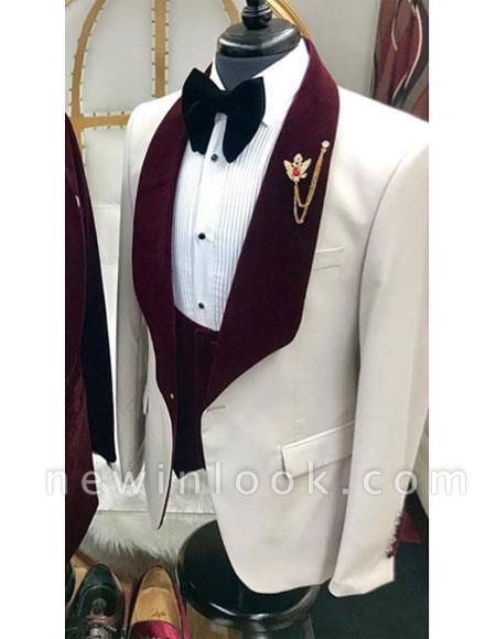 White And Burgundy Wine Maroon Color Velvet Lapel Vested Tuxedo Suit Shawl Collar