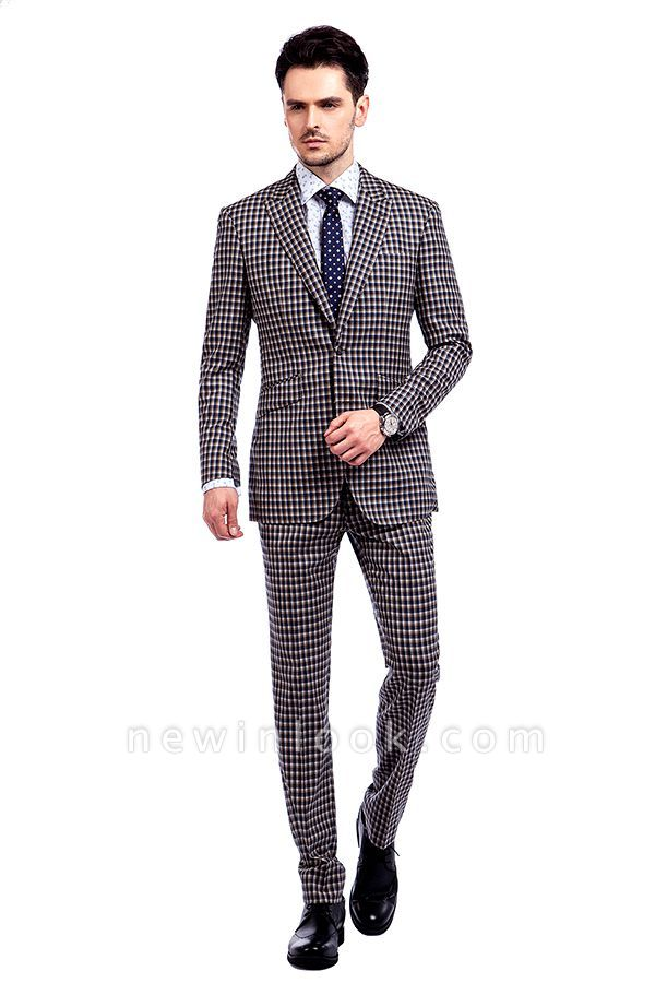 Hot Recommend Checks Pattern Single Breasted Men Premium Suit | Peak Lapel Two Button Tailor Customized Tuxedos for my Quince