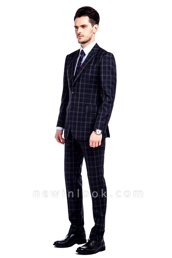 Traje de hombre de lana escocesa azul marino de un solo pecho gris oscuro | Traje de boda de dos botones con dise_o de solapa con muesca