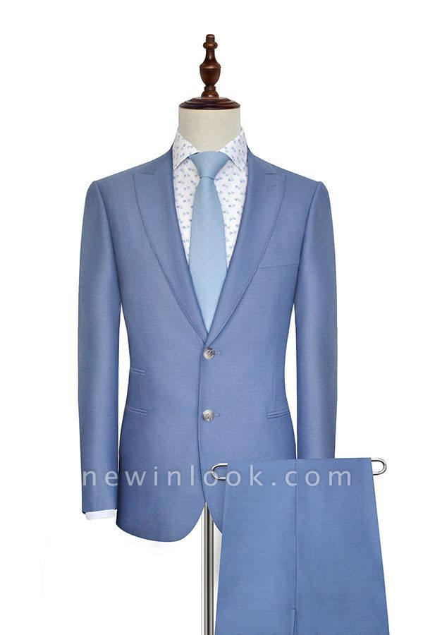 Thin Blue Three Pocket Wool Comfortable Customized Tuxedos for my Quince  | New Arrival Single Breasted Peaked Lapel Tailoring Suit