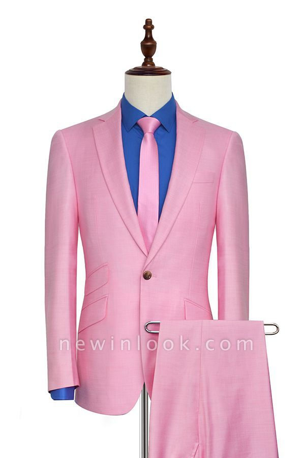 Bright Pink Three Slant Pocket Customized Tuxedos for my Quince  | Single Breasted One Button Quinceanera Tuxedos for Chambelanes
